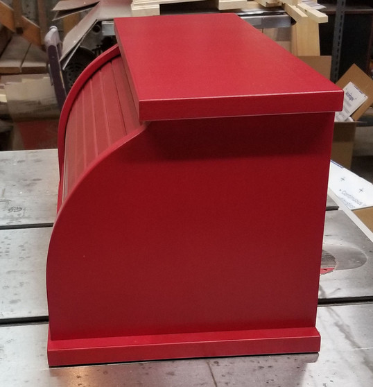 Side View of Red Bread Box.
