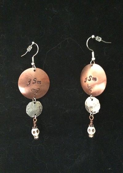 Personalized, Handstamped Earrings w/Skulls