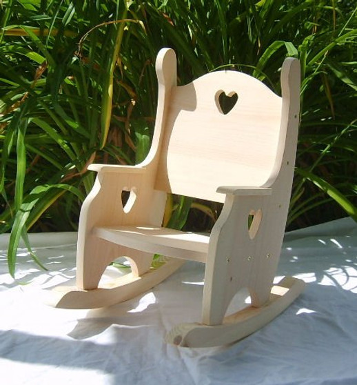 Child's Rocking Chair, Unfinished Pine w/Hearts