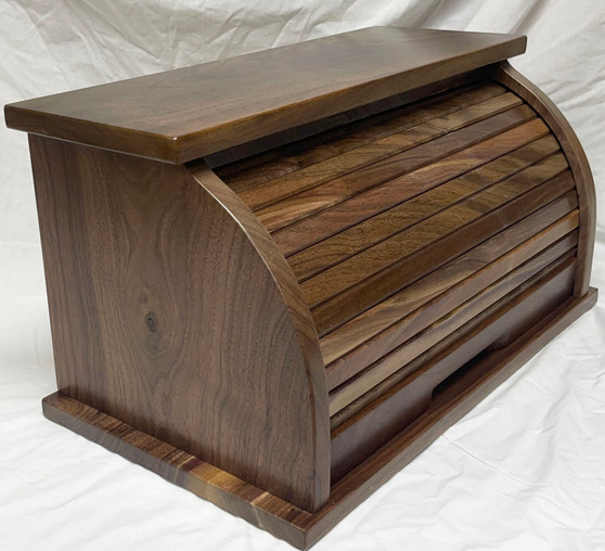 Side and Front View Walnut Bread Box with clear, water based, satin, finish.