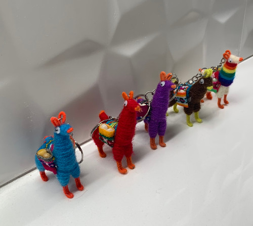 Colorful llama key ring