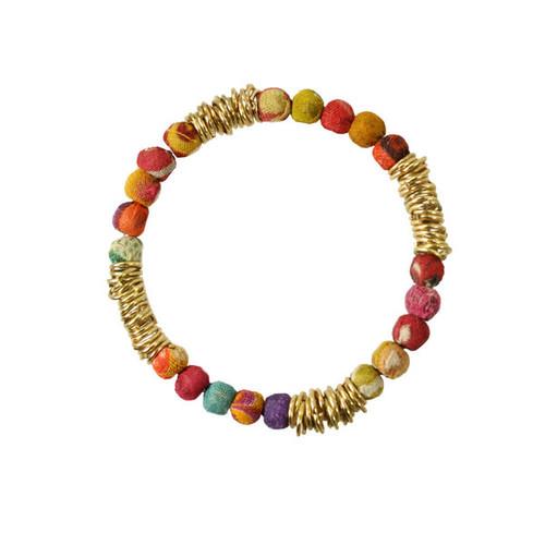 Kantha glimmer tassel bracelet