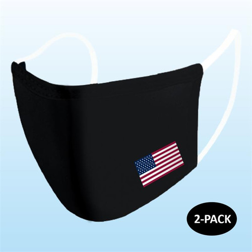 Black with Flag Reusable Face Mask 2 pack