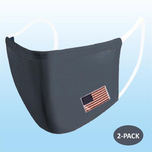 Dark Grey With Flag Reusable Face Mask 2 pack