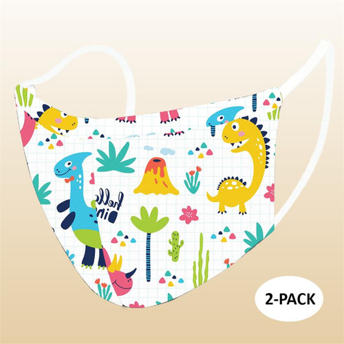 Dino Children's Reusable Face Mask 2 pack