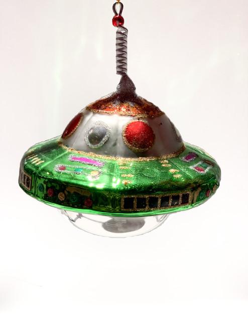 UFO glass ornament