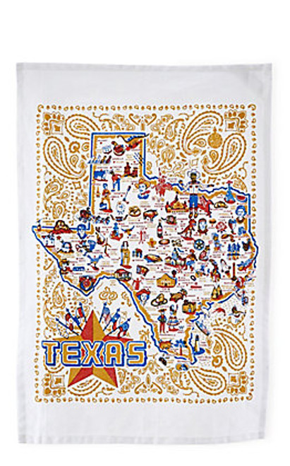 Texas map tea towel