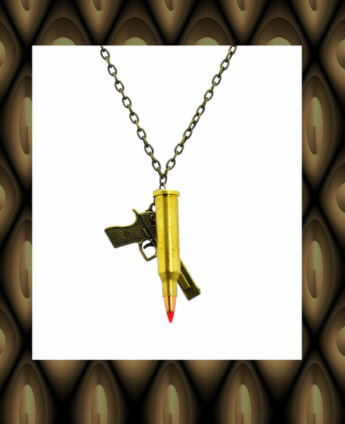 Revolver bullet necklace