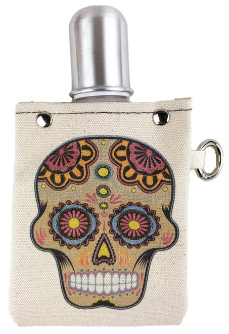 4 oz canvas sugar skull flask