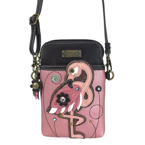 Flamingo pink cellphone crossbody