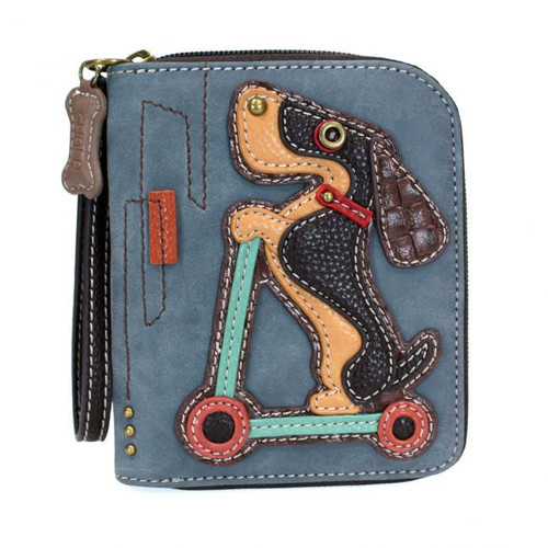 Dog on scooter zip around wallet