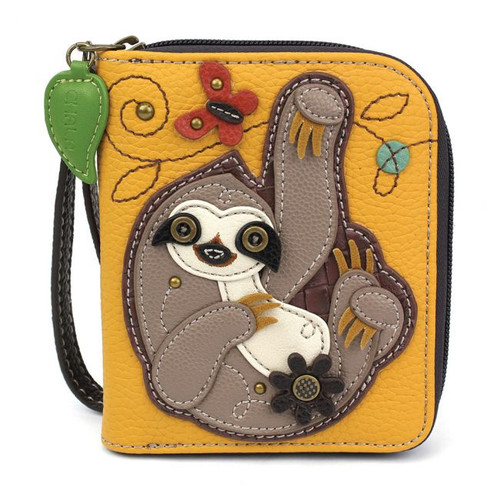 Sloth zip around wallet yellow
