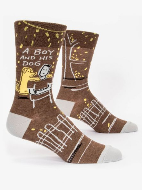 A boy and his dog men's sock