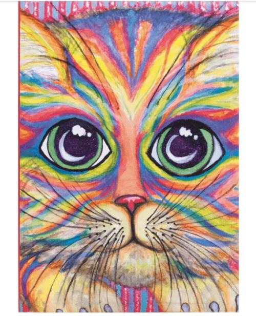 Neon kitty art journal