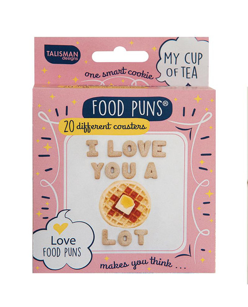 Love food puns coasters