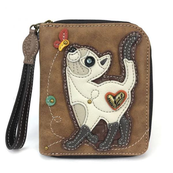 Brown cat zip around wallet