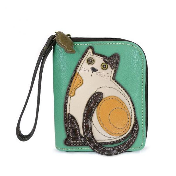 Kitty cat teal zip around wallet
