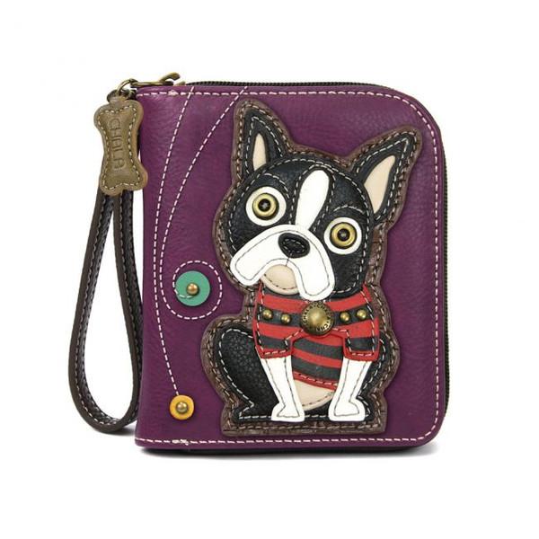 Boston terrier zip around wallet