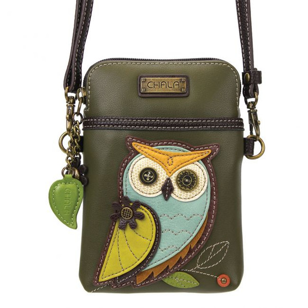 Owl cellphone crossbody olive