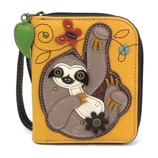 Sloth zip around wallet yellow