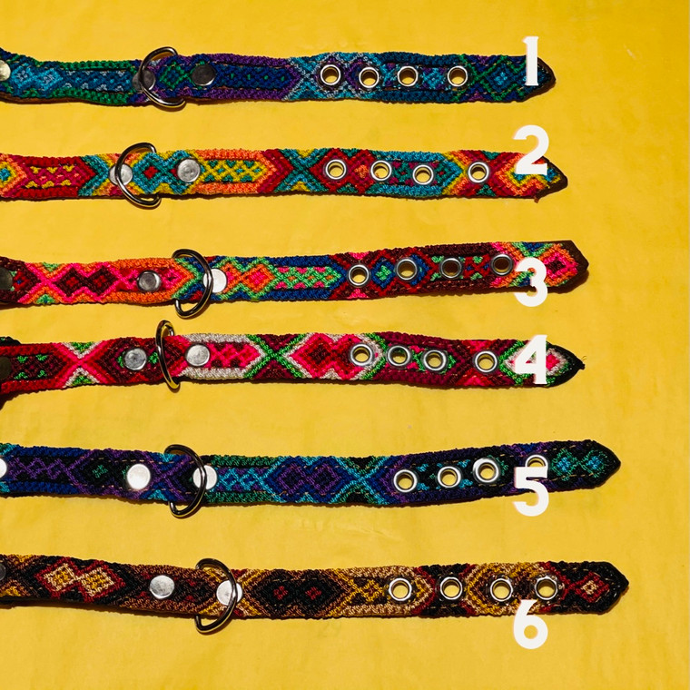 Leather and Hand Woven Pet Collar  SMALL