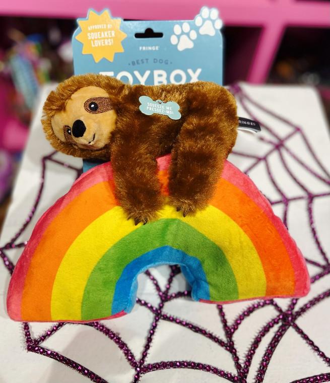 Rainbow sloth plush dog toy