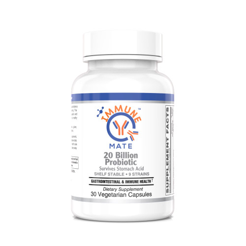 Immune Mate Probiotics - Formulated with clinically tested Bifidobacterium lactis Bl-04, maintains a healthy immune & respiratory function, & Modulates nasal immune function.*  Patented Strains, 20B CFU, Shelf stable.