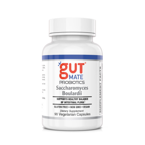 GutMate® Saccharomyces Boulardii - Supports Healthy Balance of Intestinal Flora, especially useful when traveling, eating out or using antibiotics* GLUTEN FREE • NON GMO • VEGAN