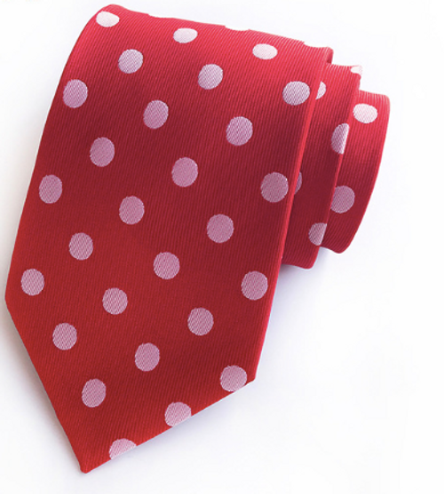 Red and White Spot Tie