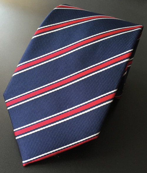 Red Navy and White Stripe Tie