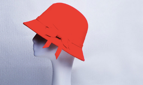 Red Felt Ladies Hat with bow detail 57-60cm