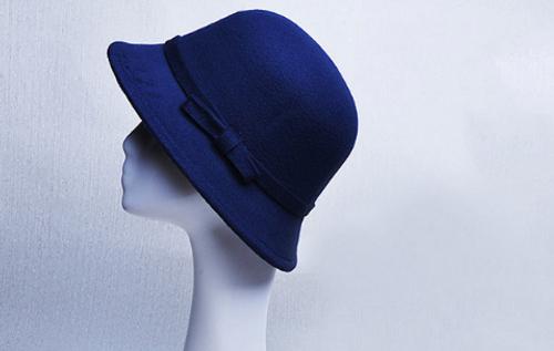 Navy Felt Ladies Hat - small bow detail 57-60cm