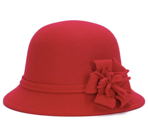 Red Felt Ladies Hat with flower detail