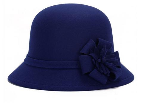 Royal Blue Felt Ladies Hat Flower Detail