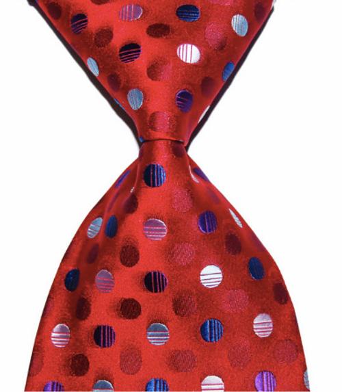 Red Navy White Spot Tie