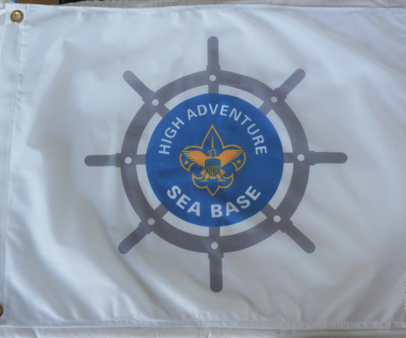 Sea Base Shipwheel Flag White Flappin Flags