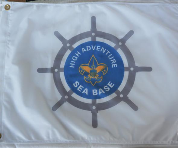 Sea Base Shipwheel Flag White Flappin Flags