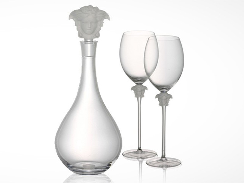 Verace Medusa Lumiere wine glasses and decanter on white background.