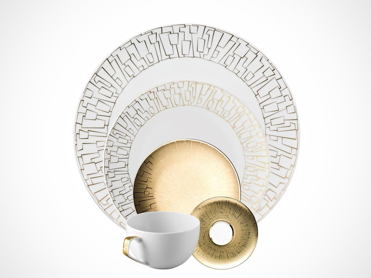 Rosenthal TAC 02 Skin Gold 5 piece place setting on white background.