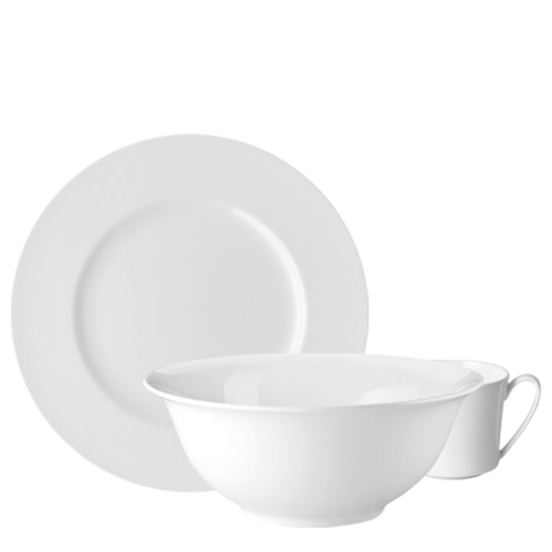 Rosenthal Jade Bone Chine plate, bowl and cup on white background