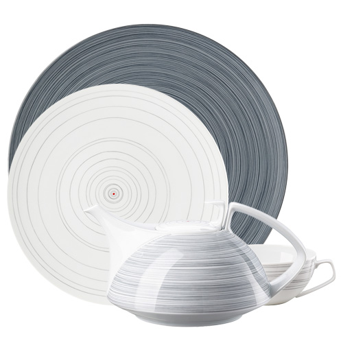Rosenthal TAC Stripes 2.0 plate, coffee pot and cup on white background