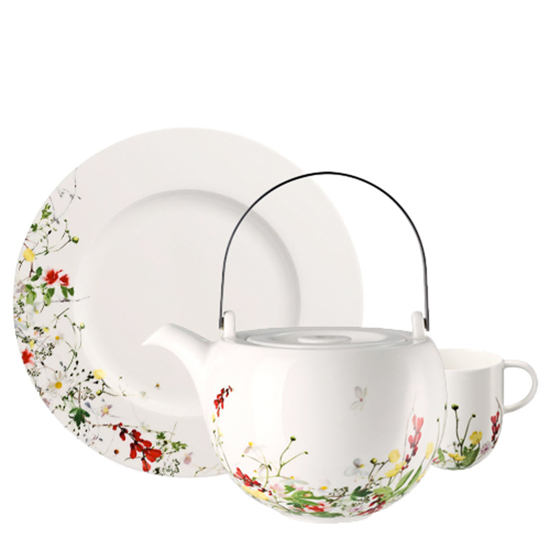Rosenthal Brillance Fleurs Sauvages plate, coffee pot and cup on white background