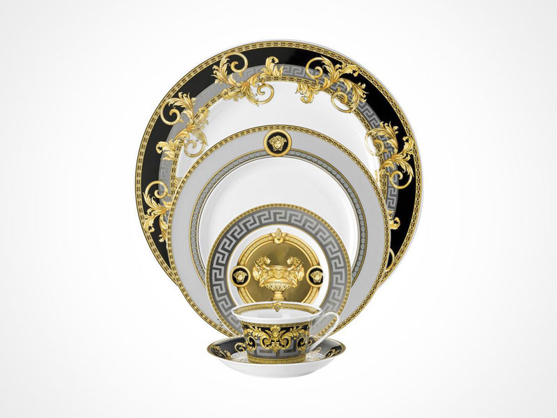 Versace Prestige Gala bread and butter plate, salad plate, dinner plate, cup and saucer on white background.