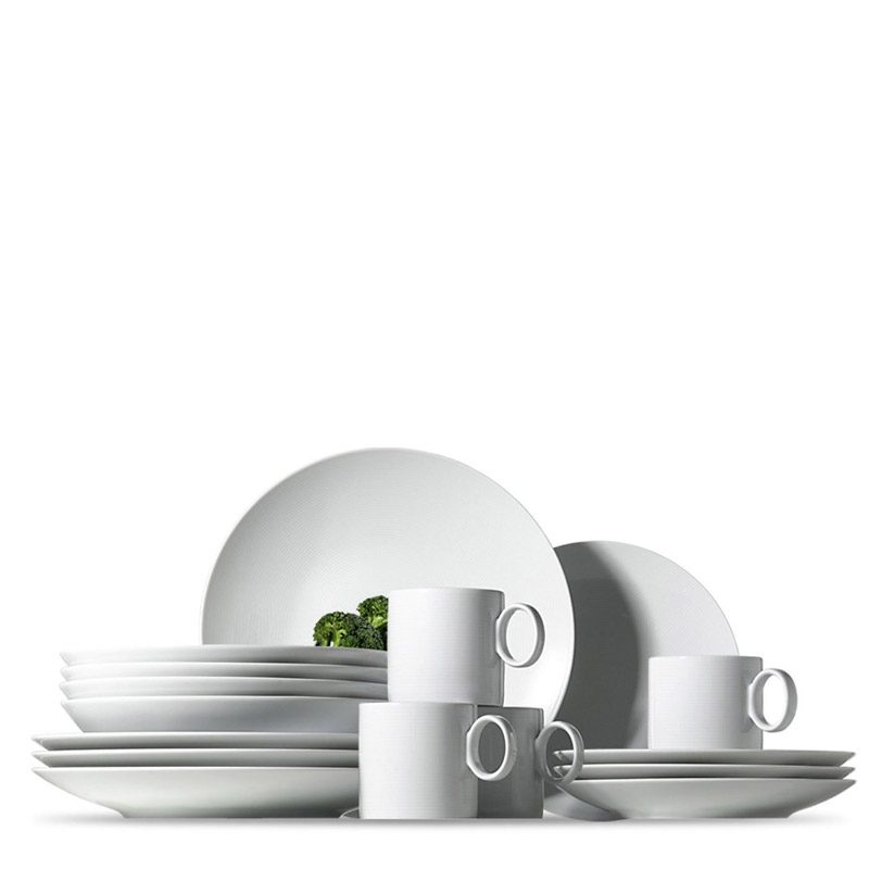Thomas Loft White dinnerplate, soup plate, salad plate and mug on white background.