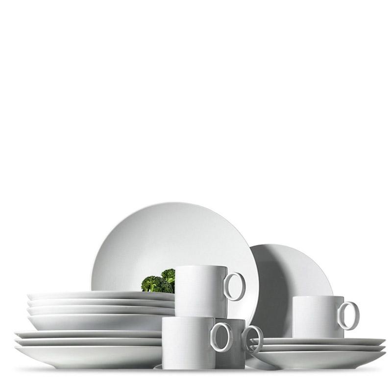 Thomas Loft White dinnerplate, soup plate, salad plate and mug on white background.