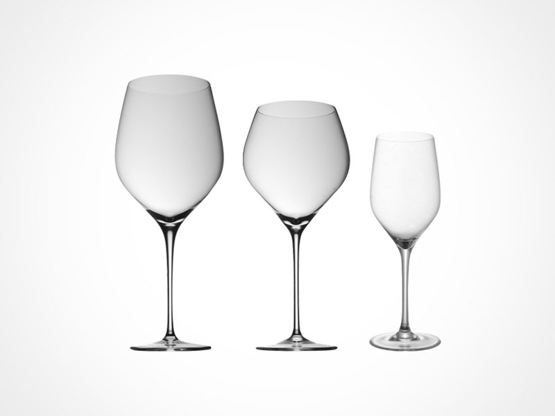 Rosenthal Fuga wine glasses and whiskey glass on white background