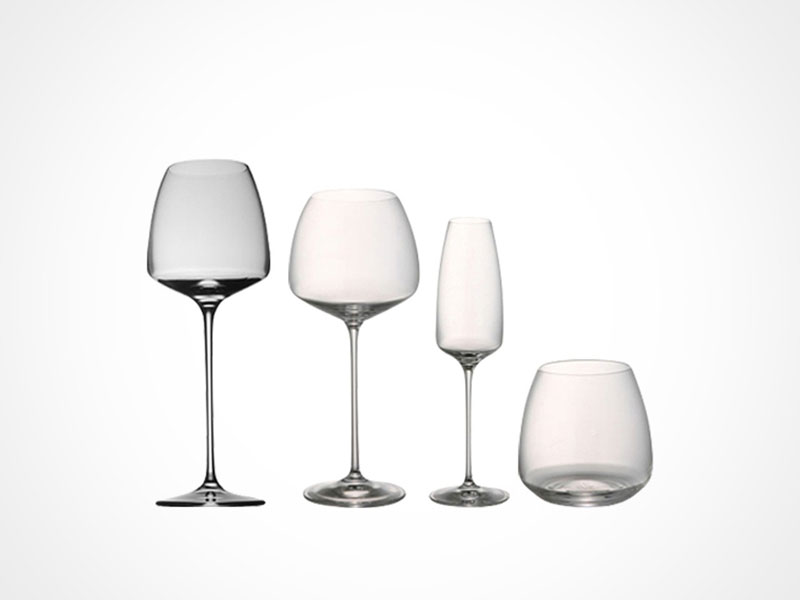 Rosenthal TAC 02 wine glasses and whiskey glass on white background