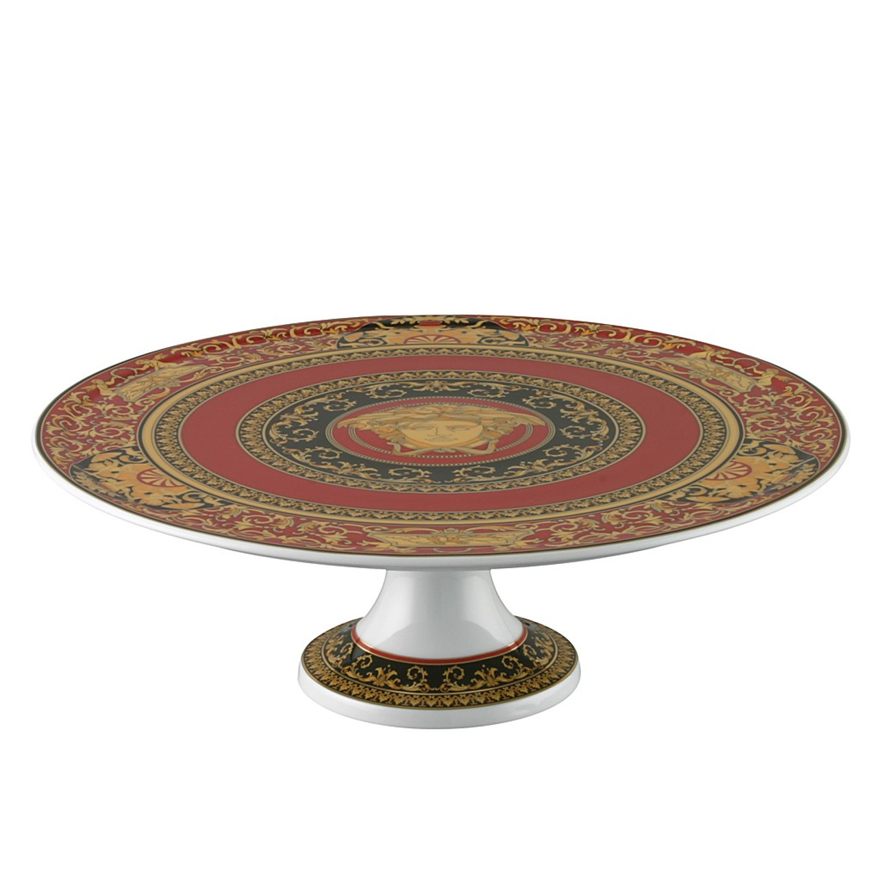 Footed Cake Plate Porcelain 13 Inch Versace Medusa Red