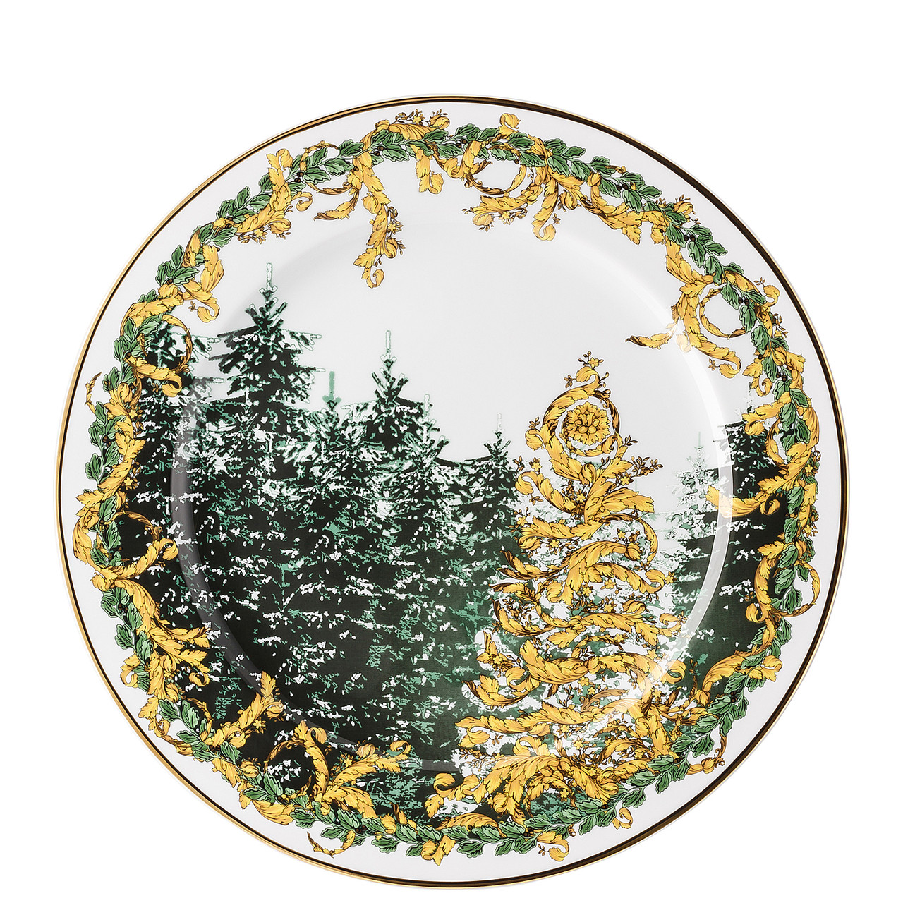 Green Serving Platter with Glitter 12 Inch Christmas Winter Decoration
