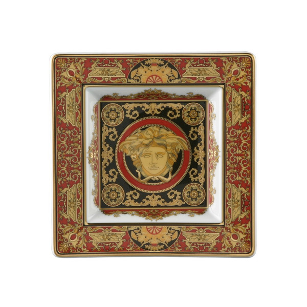 Tray, Porcelain, 5 1/2 inch   Versace Medusa Red